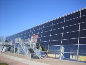 Aussenansicht Glasfront Kreissporthalle Lübbecke